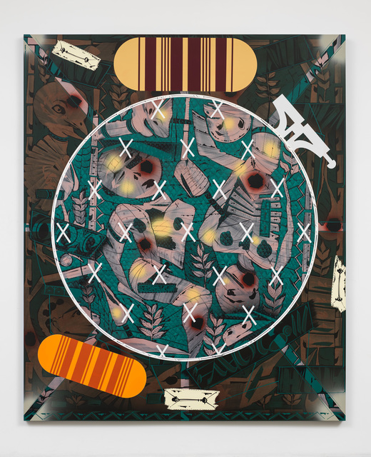 Lari Pittman, 'Needlepoint Sampler with Patches (#2) Depicting Daily Life of a Late Western Impaerium', 2013, Lehmann Maupin