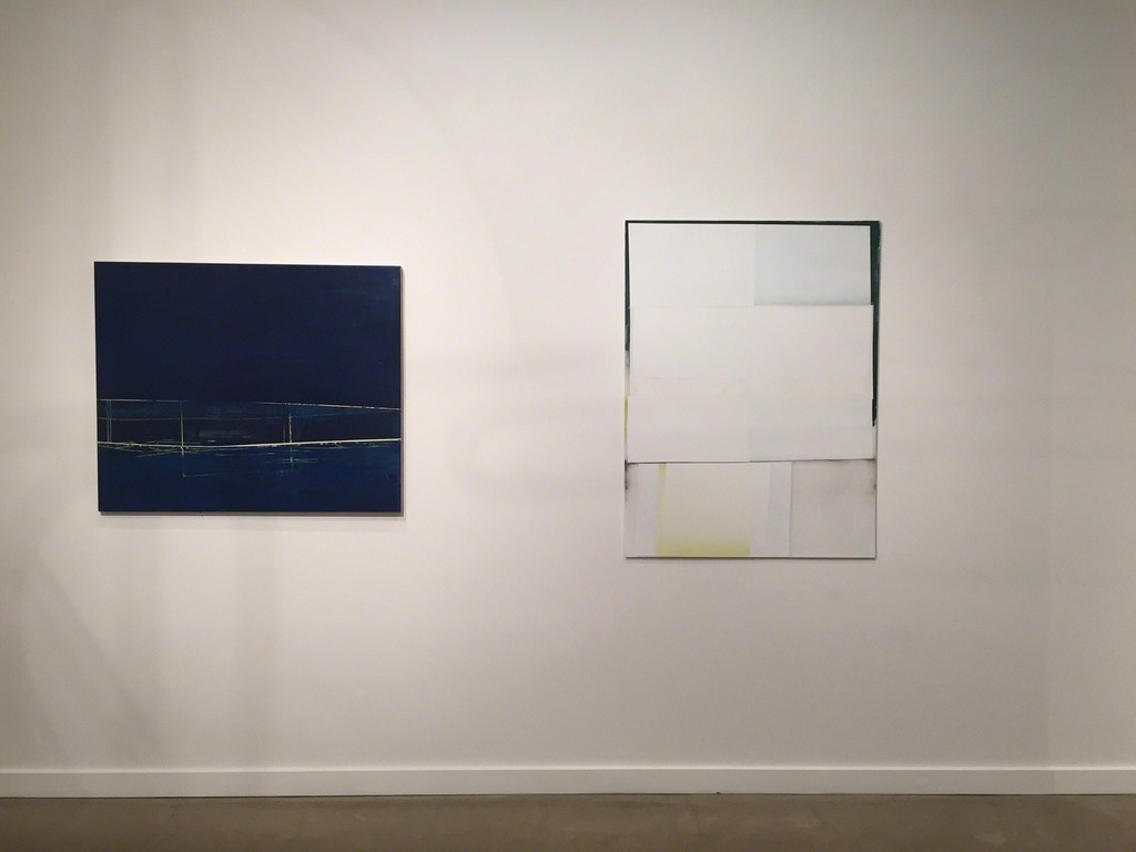 "Gayle Ruskin ""Solo"" Oil and enamel on wood panel (left) and Jeffrey Cortland Jones ""Blushed (Charlotte Sometimes)"" Enamel, latex, and gesso on acrylic panel (right)"