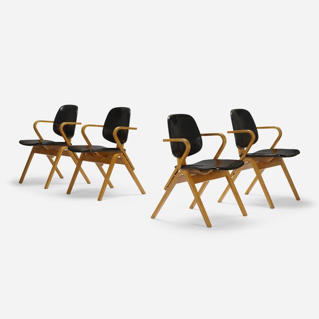 Joe Atkinson, 'armchairs, set of four', c. 1955, Design/Decorative Art, Laminated beech, vinyl, aluminum, Rago/Wright