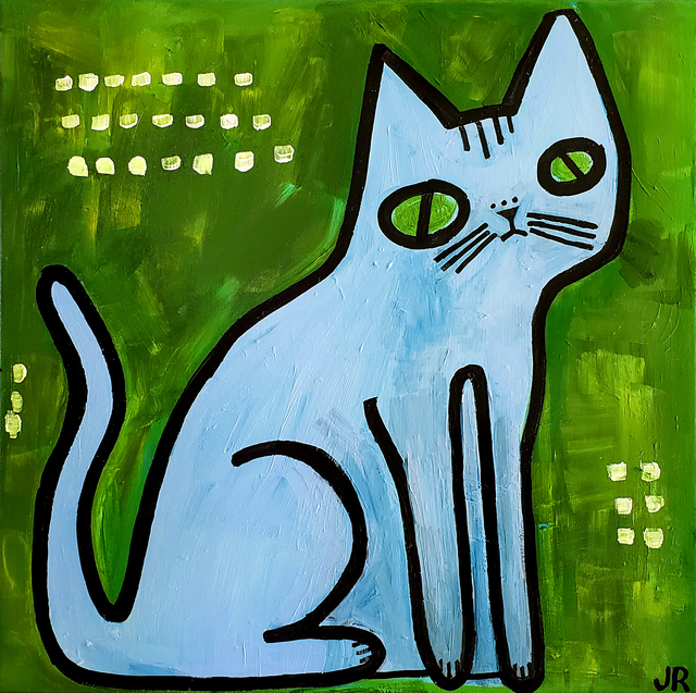 Jessica JH Roller, 'Blue Cat on Green', 2018, UGallery