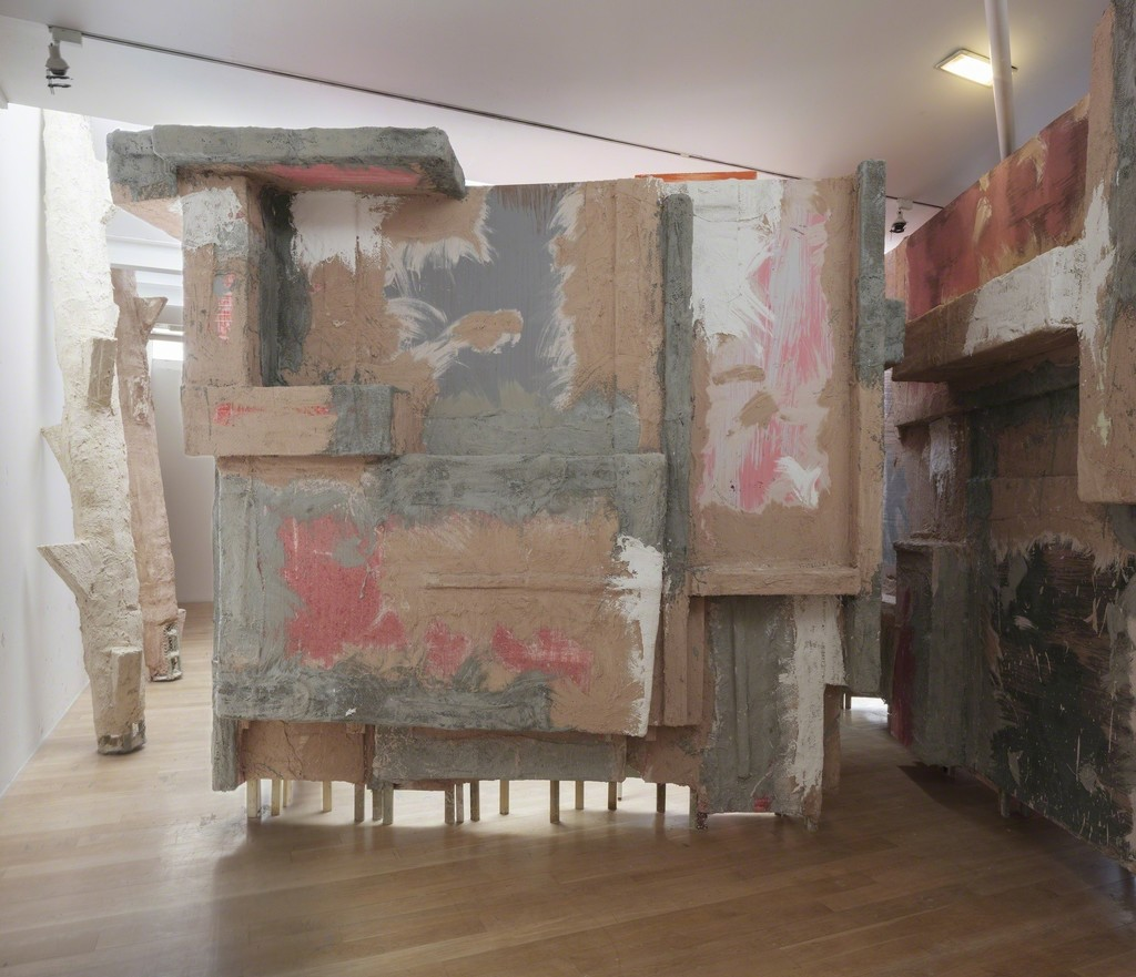 Phyllida Barlow left to right: untitled: lookout post, 3, 2015; untitled: lookoutpost, 2, 2015, untitled: blockade, 2015