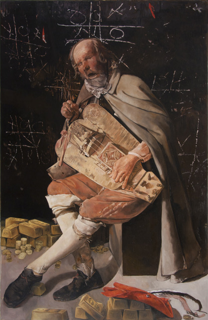 , 'Bad Bets-Blind Hurdy Gurdy Banker after Georges de la Tour's Hurdy Gurdy Player,' 2012, Francis M. Naumann Fine Art