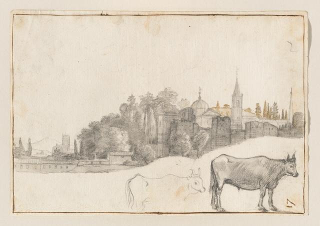 Claude Lorrain, 'A View Outside the Piazza del Popolo in Rome', 1640-1641, Clark Art Institute