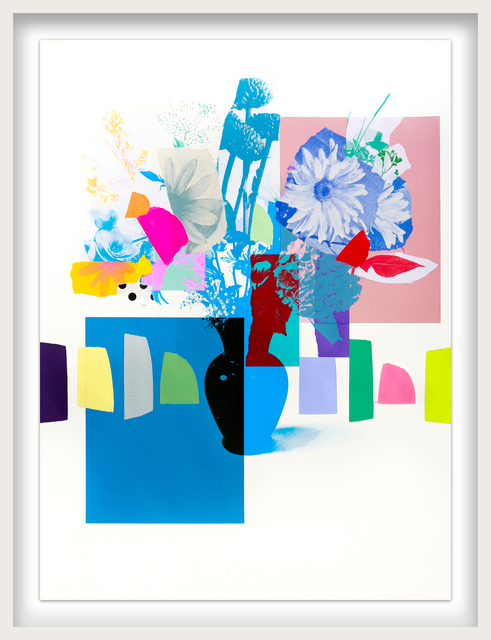 Emily Filler, 'Paper Bouquet (black vase + blue flowers)', ca. 2021, Drawing, Collage or other Work on Paper, Mixed Media on Paper, Newzones