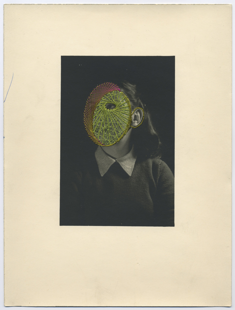 Maurizio Anzeri, 'Lisa', 2018, Photography, Embroidery on found photograph, Haines Gallery