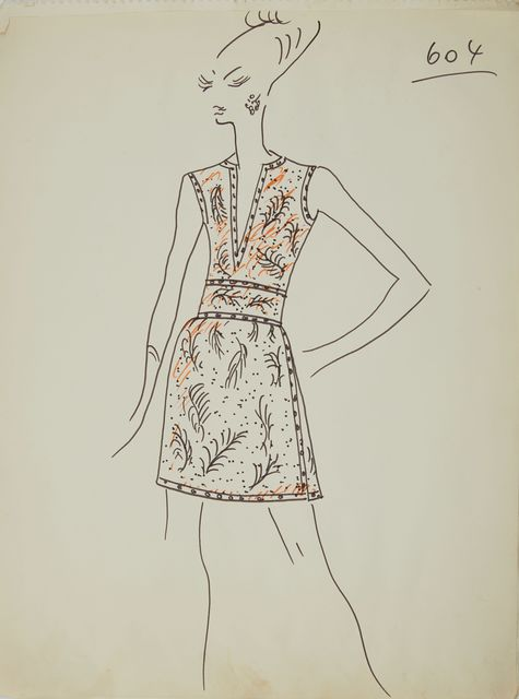 Karl Lagerfeld, 'Karl Lagerfeld Original Fashion Sketch Ink Drawing with Marker 604 Contemporary', ca. 1963-1969, Drawing, Collage or other Work on Paper, Mixed Media, ink pen and marker on paper, Modern Artifact