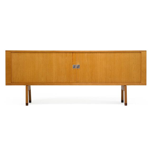 Hans Jørgensen Wegner, 'Cabinet, Denmark', 1960s, Design/Decorative Art, Oak, Rosewood Matte-Chromed Steel, Rago/Wright