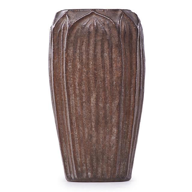 Wheatley, 'Vase With Leaves, Dark brown glaze, Cincinnati, OH', ca. 1905, Rago/Wright