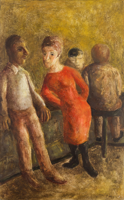 , 'Untitled (Figurative street scene with a woman in a red dress leaning on a balustrade),' 1965, Barbara Thumm