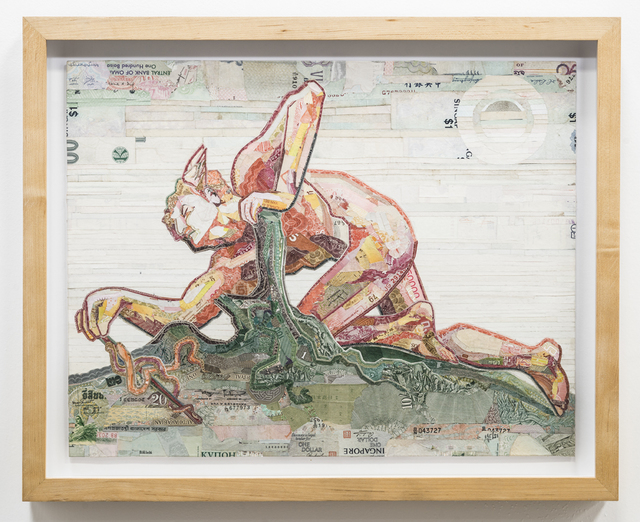 C.K. Wilde, 'Mercury Invents the Caduceus', 2015, Drawing, Collage or other Work on Paper, Currency collage on museum board, framed, Rosamund Felsen Gallery