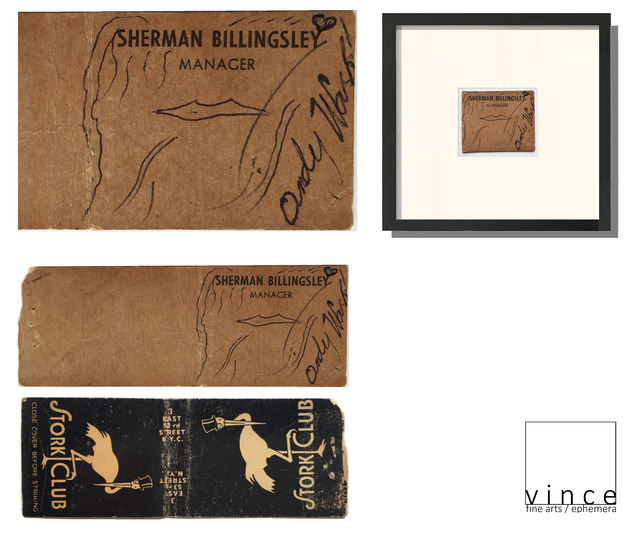 """Andy Warhol, '""""STORK CLUB"""", Signed Drawing on Stork Club Owners Business Card/Match Book Cover, Smallest WARHOL Drawing ?', 1950-1959, VINCE fine arts/ephemera"""