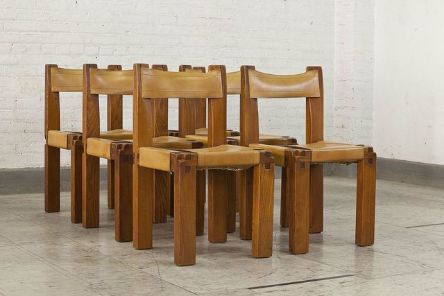 ", 'Set of six ""S11"" chairs covered in leather,' ca. 1960, Magen H Gallery"