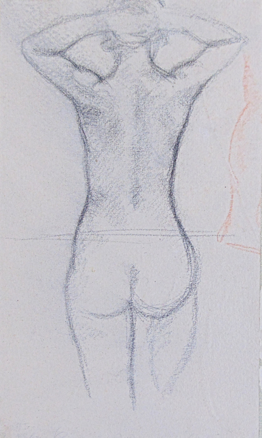 Aristide Maillol, 'Standing Nude | Nude with raised Arms', Early 20th, Drawing, Collage or other Work on Paper, Signed Double Sided Sanguine Pastel Drawing and Charcoal Drawing on Wove Paper, Gilden's Art Gallery