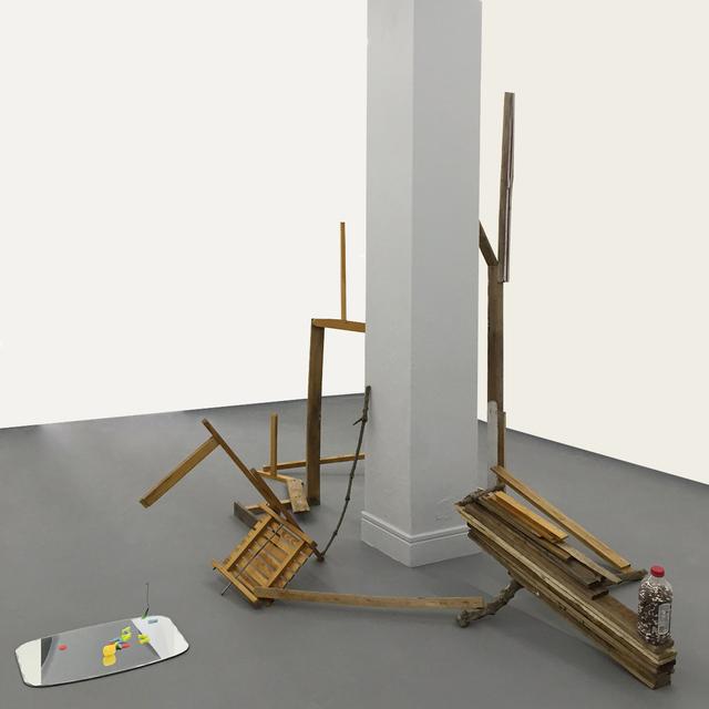 "Abraham Cruzvillegas, 'Autorretrato istmeño escuchando ""Colón Colón"" con Lord Cobra......', 2015, Sculpture, Found objects, wood, fabric, plastic, tin, mirror, Diablo Rosso"