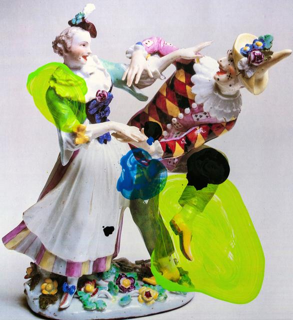 Markus Hanakam & Roswitha Schuller, 'Harlekin und Colombine, tanzend. Modell von Kaendler, Juni 1744', 2020, Photography, Acrylic ink on Kodak endura, Galerie Krinzinger