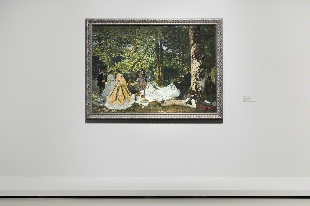 """View of Room 4 """"Landscapes/Impression"""" Claude Monet, Le Déjeuner sur l'herbe, 1866 Musée d'Etat des Beaux-Arts Pouchkine, Moscou © Fondation Louis Vuitton / Martin Argyroglo"""