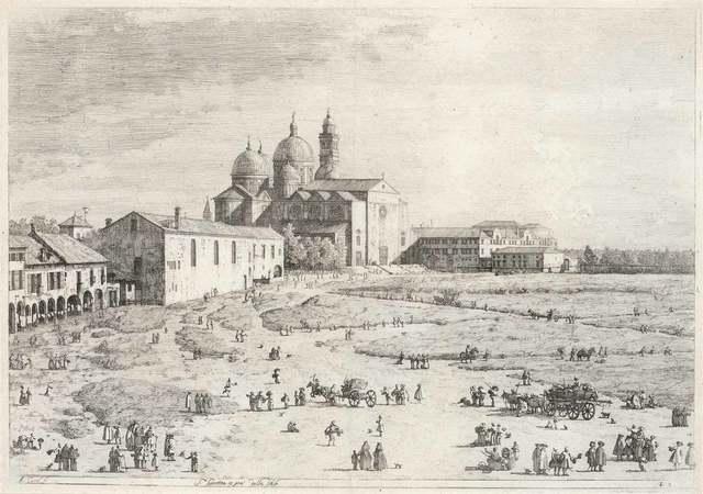 Studio of Giovanni Antonio Canal, called Il Canaletto, 'S. Giustina In Prà Della Valle (Devesme 8; Bromberg 7)', Print, Etching on cream laid paper, Doyle