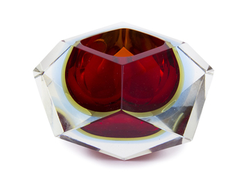 Faceted red and yellow ashtray