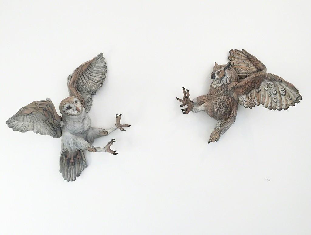 "Wesley T. Wright installation, Convivium, 2018, stoneware, underglaze, glaze, 36"" x 22"" x 16"""