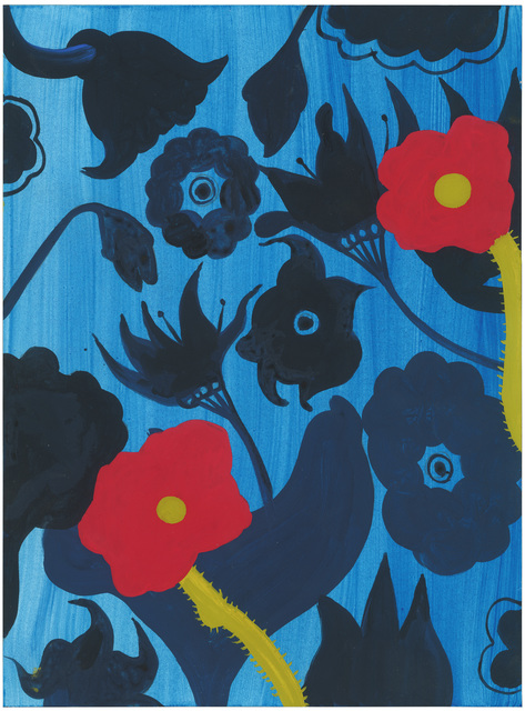, '#24 (Black on Blue Plus 2 Red Flowers),' 2018, The Provincial