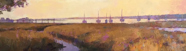 ", '""Harbor in Amber"" Oil painting of earth toned marsh and purple harbor at dusk,' 2019, Eisenhauer Gallery"