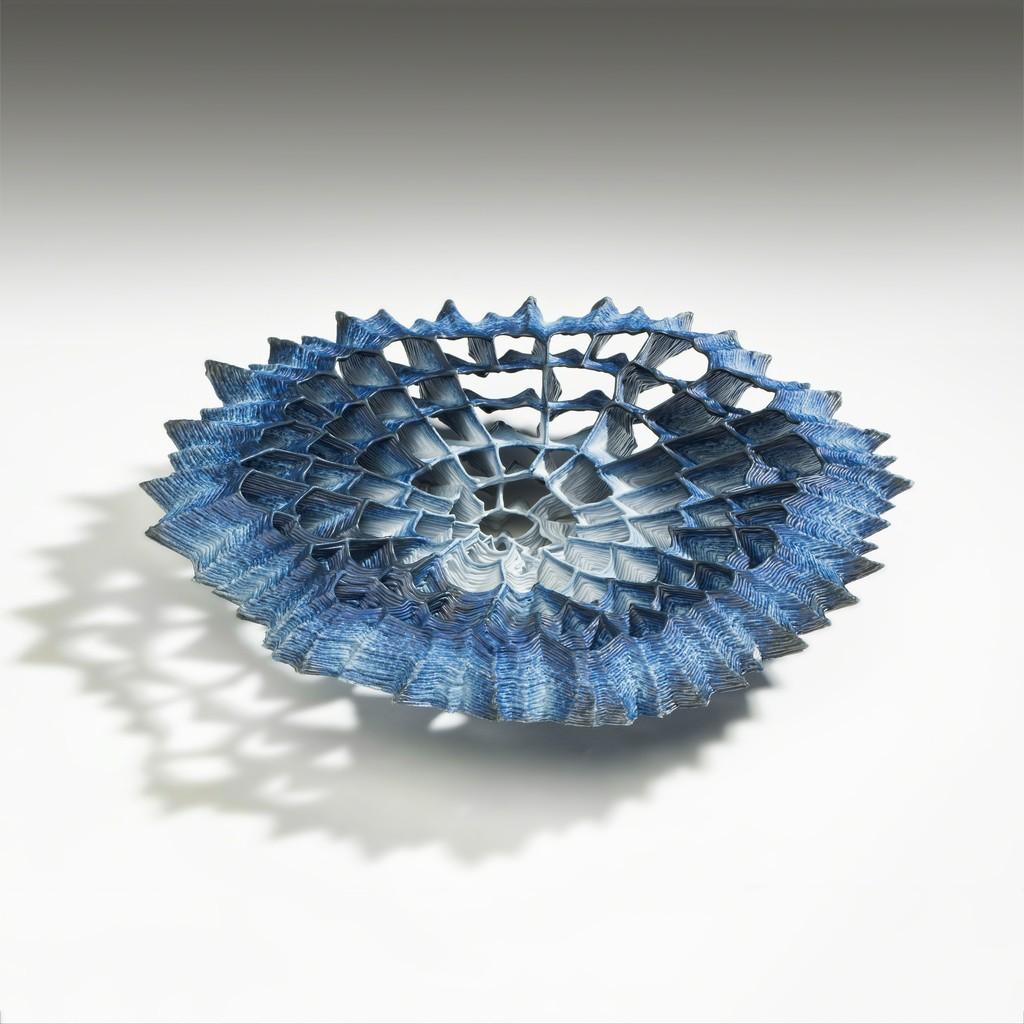 "Sidsel Hanum, ""Blue Core"", 2015, Porcelain, C. 1.4 in. h x 9 in. w x 8 in. d"