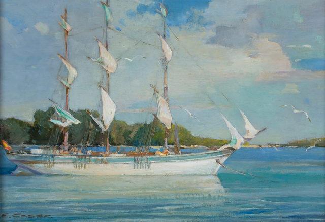 Ettore Caser, 'Marine Portrait, Three Masts', ca. 1920, WOLFS