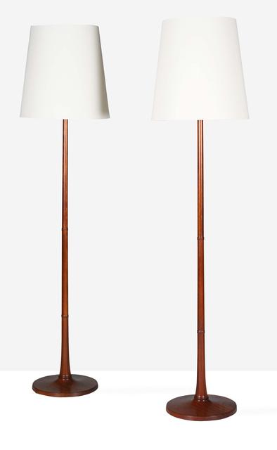 Esben Klint, 'Floor lamps, pair', circa 1960, Design/Decorative Art, Mahogany, fabric, Aguttes