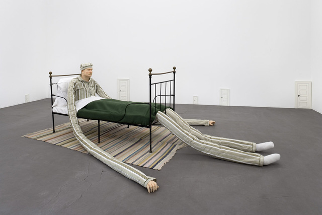 Peter Land, 'Untitled (Man in bed, small doors)', 2006, Installation, Oil paint on fiberglass cast, painted wood, and mixed materials, Galleri Nicolai Wallner
