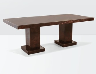 a table with a wooden structure, parchment coverings and brass details