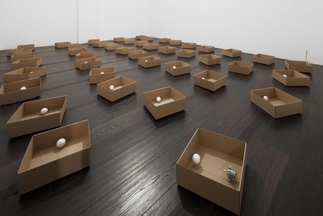 Zimoun, '45 prepared DC motors, cotton balls, cardboard boxes 23 x 23 x 9 cm', 2011, bitforms gallery