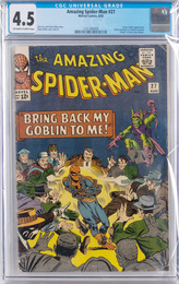 Amazing Spiderman issue #27, fifth appearance of Green Goblin, death of the Crime-Master, CGC graded 4.5