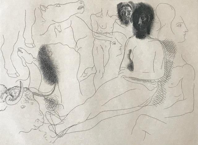 , 'Nu assis entouré d'esquisses de bêtes et d'hommes, pl. 10, from Le Chef-d Œuvre Inconnu,' 1927, Jason McCoy Gallery