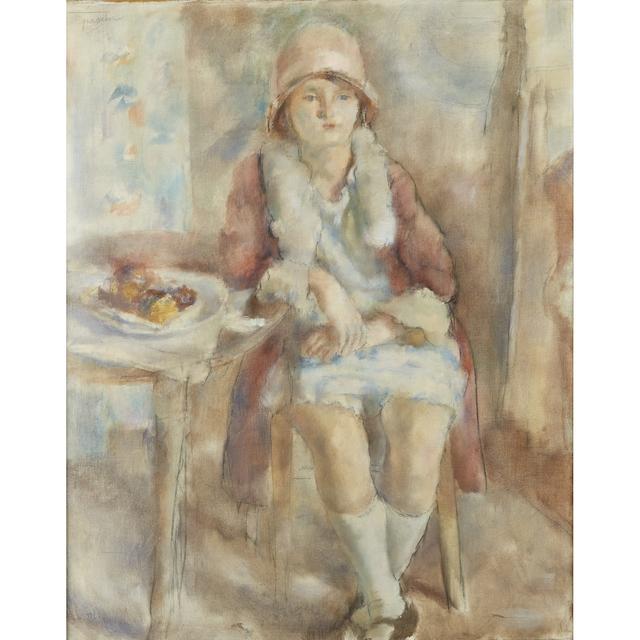 Jules Pascin, 'Jeune Fille au Café', 1927, Painting, Oil and crayon on canvas, Freeman's