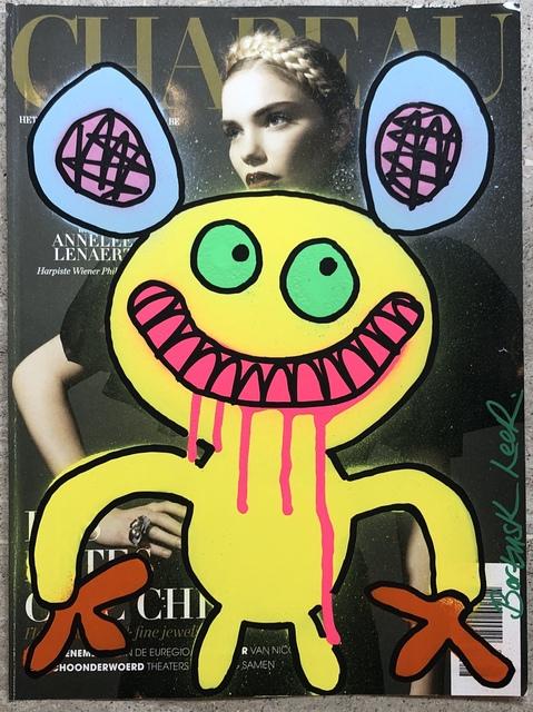 Bortusk Leer, 'Chapeau Monster', 2019, Painting, Spray paint and acrylic pen on magazine, Kalkman Gallery