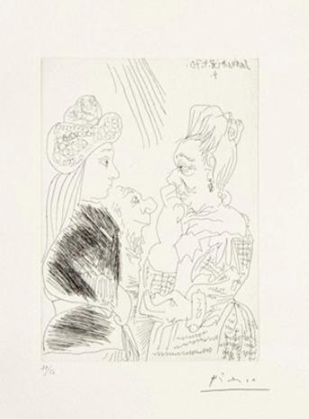 Pablo Picasso, 'La Bonne-aventure avec un curieux simiesque', 1970, Galerie Céline Moine & LGFA
