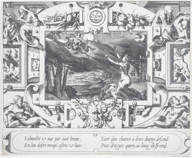 , 'Medea Watching a Chariot Drawn by Dragons, after Leonard Thiry,' 1563, Bowdoin College Museum of Art