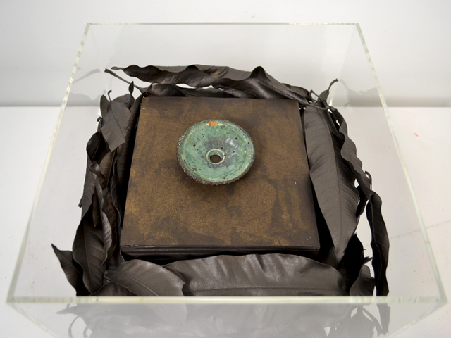 Jose Manuel Fors, 'Cubos ', 2011, Sculpture, Found object, mango leaves painted with graphite, acrylic box, Pan American Art Projects
