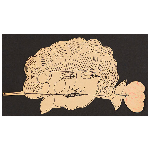 Andy Warhol, 'Portrait of Hermione Gingold', 1953/4, Drawing, Collage or other Work on Paper, Original black and pink ink on paper, Caviar20