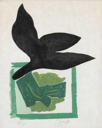 Oiseau Noir Sur Fond Vert (V. 181)
