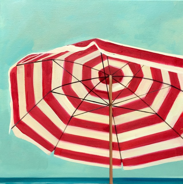 """, '""""Red and White Umbrella"""" Striped Beach Umbrella with Bright Cloudless Summer Sky,' 2010-2018, Eisenhauer Gallery"""