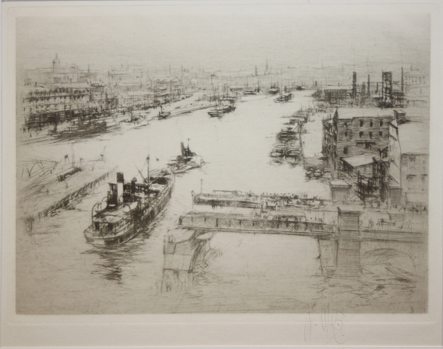 , 'The Tyne  (Looking down from the High Level Bridge on the open Swing Bridge),' 1922, EastCoastArt