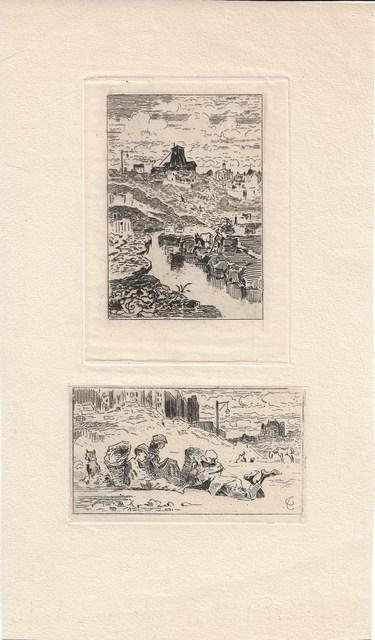 Félix Hilaire Buhot, 'Le puits de la Butte-aux-Cailles [and] Les chiffonniers', 1872, Sylvan Cole Gallery
