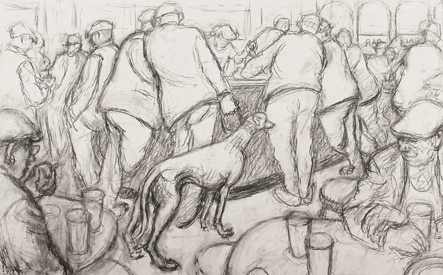 , 'Bar scene with greyhound ,' ca. 1965, Castlegate House Gallery