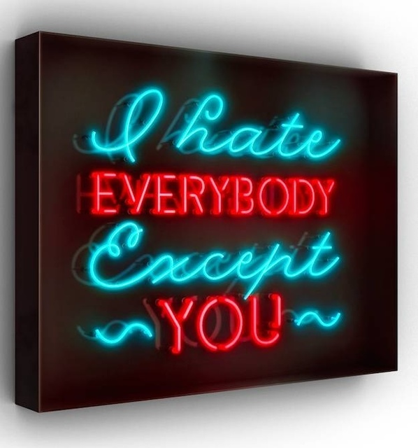 David Drebin, 'I hate EVERYBODY Except YOU', 2016, Installation, Neon Light Installation in a Smoked Acrylic Box, Art Angels
