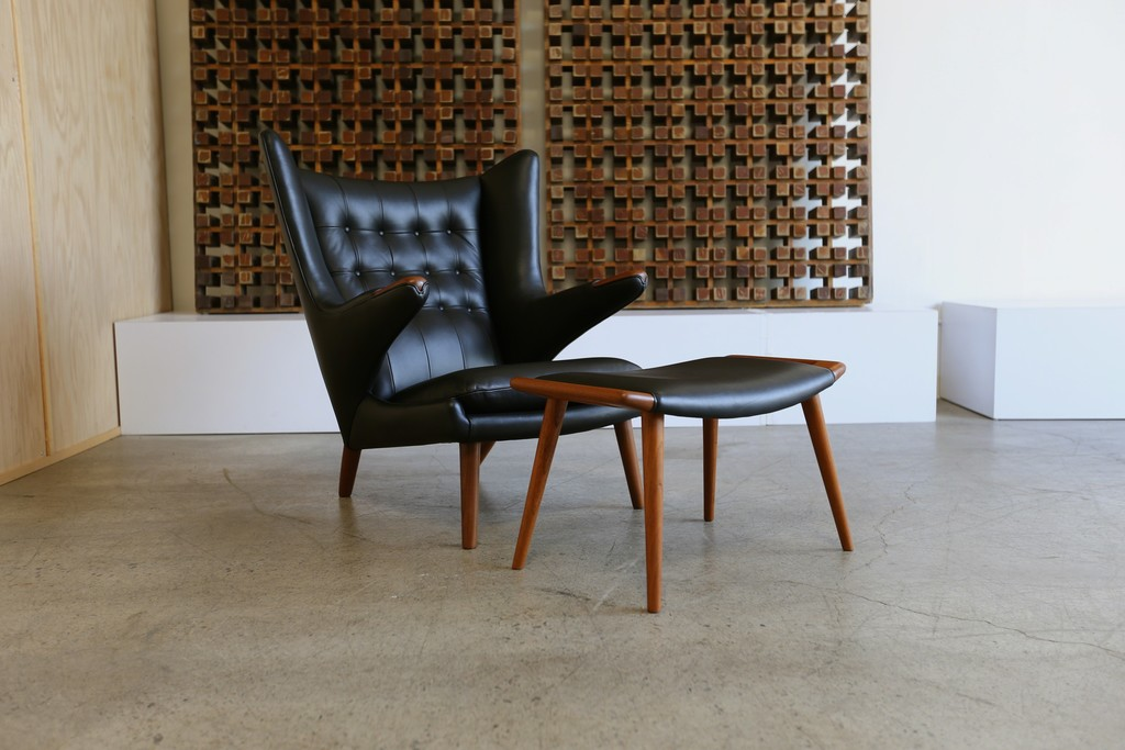 Hans J. Wegner, U0027Black Leather Papa Bear Chair And Ottoman By Hans J
