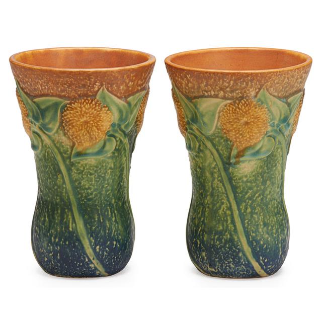 """Roseville Pottery, 'Two 7"""" Sunflower Vases, Zanesville, OH', 1930, Rago/Wright"""