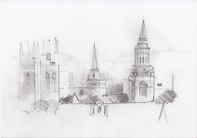 , 'Oxford Drawing #2 Oxford Skyline Study 1,' 2017, Sarah Wiseman Gallery