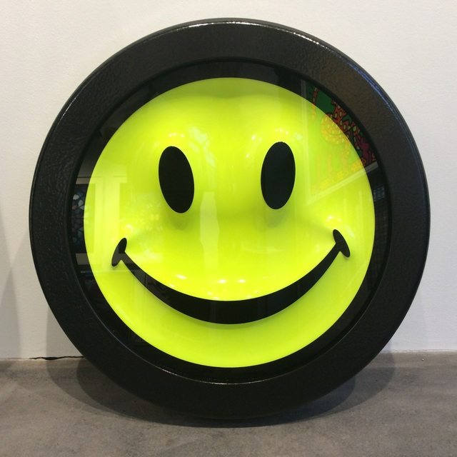 Ryan Callanan (RYCA), 'Fluorescent Smiley Face (edition nearly sold out)', 2017, Mixed Media, Fluorescent paints and screen printing on glass, Joseph Fine Art LONDON