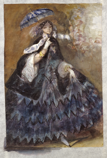 Constantin Guys, 'Woman with a Parasol', 1860-1865, Watercolor over pen and brown ink, J. Paul Getty Museum